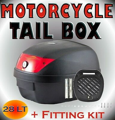 28LT Universal Motorcycle Scooter Top Tail Box Rear Storage Luggage Black + Kit