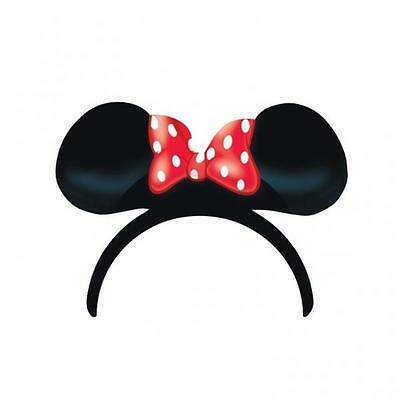 Minnie Mouse Red Polka Dot Party Ears & Bow on Headband x 4