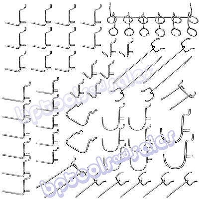 "100pc 1"" x 1/8"" Pegboard Hook Assortment Set Shelve Hanger Garage Storage Shop"