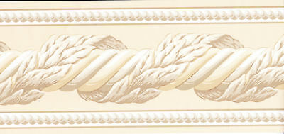 WHITE & BROWN TONES TWIST MOLDING Wallpaper bordeR Wall