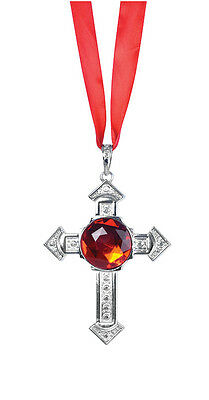 Monks #Ancient Cross Necklace With Large Red Stone Fancy Dress Accessory