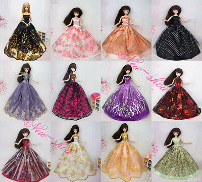 Lot 10 Dress Gorgerous Satins Barbie Wedding Clothes Party Gown For Barbie Doll