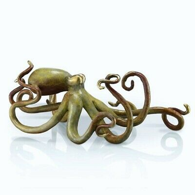 Octopus Sculpture Brass Tan Hot Patina Lost Wax Cast Coastal Tropical Nautical