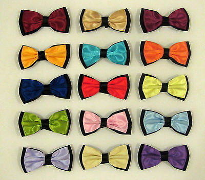 Mens/Ladies/Adult Shiny Satin Finish Two-Tone Pre-Tied Bow Ties-Various Colours