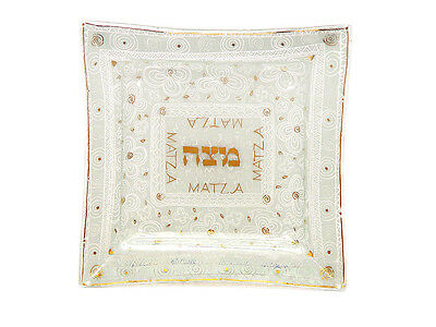 "Passover,Unique,White&Gold Glass Matzah Plate, By Andrea Meyers 10.25""Wx10.25*"