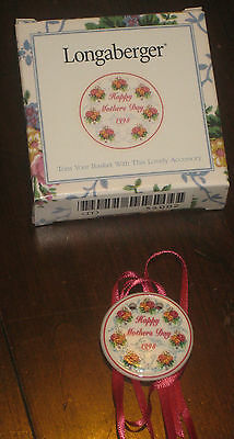 1998 Longaberger Pottery Mother's Day Rings & Things Basket Tie On Nib Usa