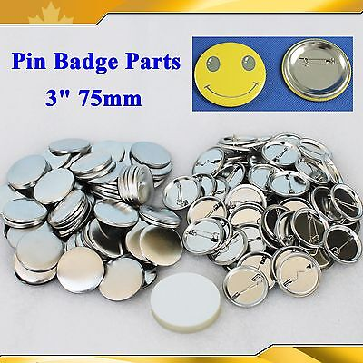 """DIY Badge Button 3"""" 75mm 100Sets Pin  Parts Supplies for Pro BUTTON MAKER GIFT"""