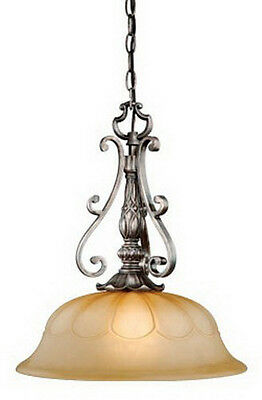 Parisian Bronze And Amber Alabaster Glass Pendant/Chandelier
