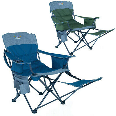 2 x OZTRAIL MONARCH FOOTREST Folding Camping Picnic Arm Chair