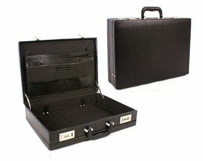 Mens Briefcase Executive Attache Case Pu Leather Business Office Expandable
