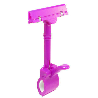 Fuchsia Plastic Double Clamps Pop Sign Card Advertising Display Clip