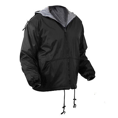 Mens Jacket Reversible Fleece Lined Nylon Shell Hooded Black or Blue Rothco 8263
