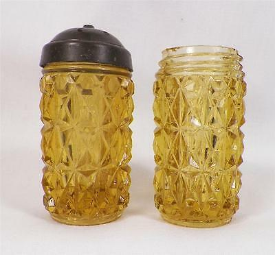 Amber Pressed Diamond Salt & Pepper Shakers Central Glass 1885 Antique 1 Has Lid