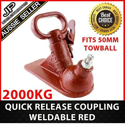 Trailer Hitch Quick Release Coupling Weld On  Red 50Mm 2000Kg Rated Caravan Part