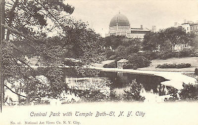 New York City NY Central Park Temple Beth-El Vintage Undivided Back Postcard.