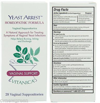 Vitanica Yeast Arrest 28 Vaginal Suppositories -Free Shipping