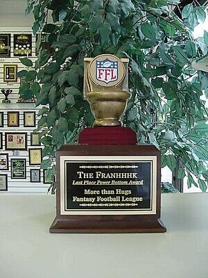 Fantasy Football Last Place 16 Year Loser Toilet Bowl Trophy Perpetual Award