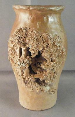 """Vintage Asian Trees Hut Scene Hand Crafted High Deep Relief Carved Clay Vase 5""""+"""