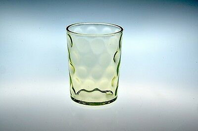 Late 1800's Polka Dot / Coin Spot Tumbler 5 Rows 10 Around Canary Vaseline