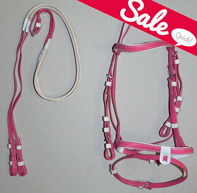 NEW PVC PINK Hanoverian Event Bridle & Reins size PONY