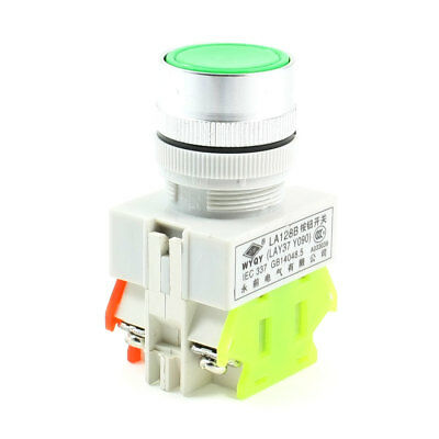 Round Green Cap DPST 1NO 1NC Self Locking Momentary Push Button Switch 660V 10A