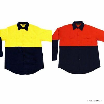 Hi Vis Safety Work Wear 100% Cotton Work Breathable Vented Long Sleeve Shirt