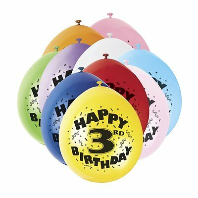 3rd HAPPY BIRTHDAY BALLOONS pack of 10 -  AGE 3 BIRTHDAY PARTY BALLOONS boy girl