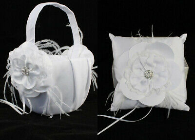 Wedding Flower Girl Basket Ring Pillow Flowergirl White Ivory - Diamante Flower