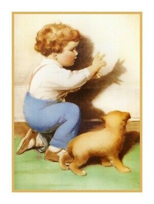 Bessie Pease Gutmann Puppy Love Even in Disgrace Counted Cross Stitch Pattern