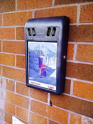 Outdoor Wall Mounted Ad Ashtray - Cigarette Bin - Retail / Office - Best Price!
