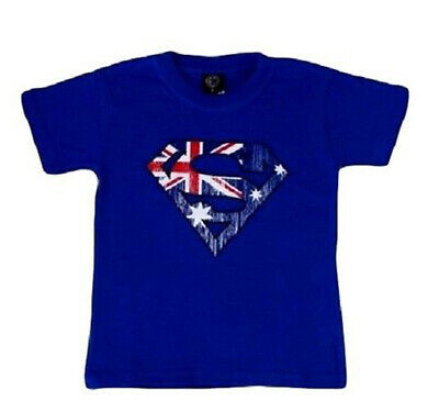 Kids Baby T Shirt Australian Australia Souvenir Cotton Sz 0-14 – Superman