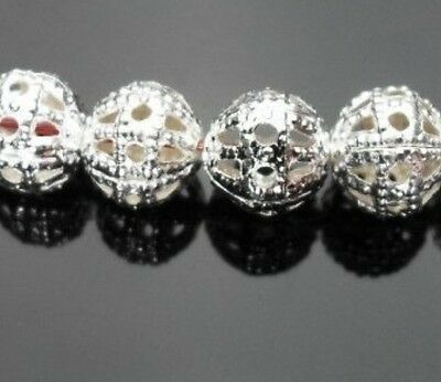 F&S 200pcs silvery white Hollow out Metal  ball beads Jewelry Findings 8mm H73