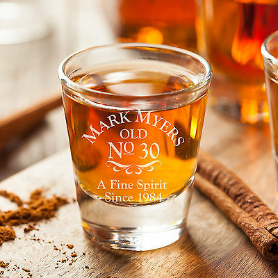 Personalised Birthday Shot Glass Engraved Party Gift 18th, 21st 30th 40th Custom