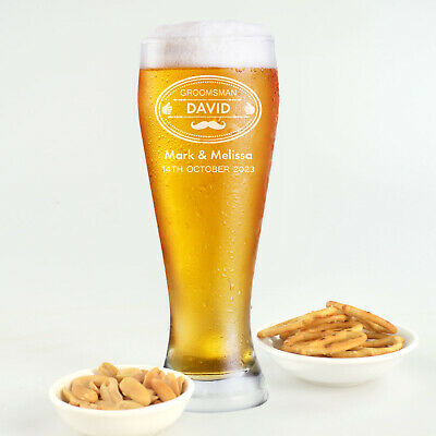 Personalised Favours Customised Wedding Beer Glasses - Custom Engraved Gifts