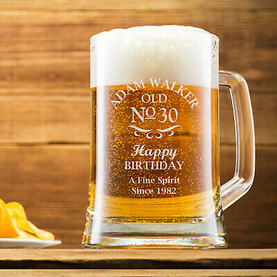 Personalised Engraved Beer Mug Tankard 500ml Glass 18th 21st 30th 40th Birthday