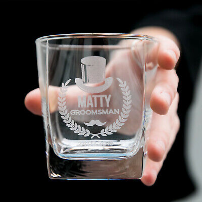 Personalised Engraved Scotch Glass Wedding Favour Whiskey Bourbon Groomsman Gift