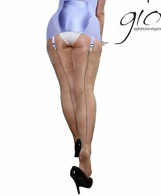 Gio FF Natural Black Contrast Seam Cuban Heel Stockings Nylons Hosiery Perfects