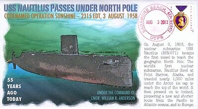 """COVERSCAPE computer designed 55th """"USS Nautilus"""" 1st to reach North Pole cover"""