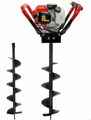 "2.3HP 55cc Gas Post Earth ice dirt Hole auger Digger Borer 2 Auger bits 6"" 10"""