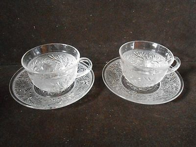 2 Vintage Anchor Hocking Sandwich Glass Cup & Saucer Sets Clear