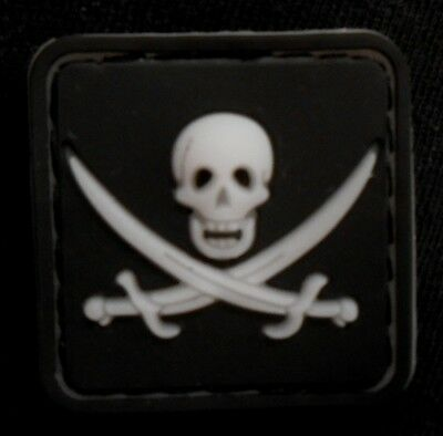 Jolly Roger Calico Jack Hook Patch Glow Dark-3D-PVC Rubber-JR7