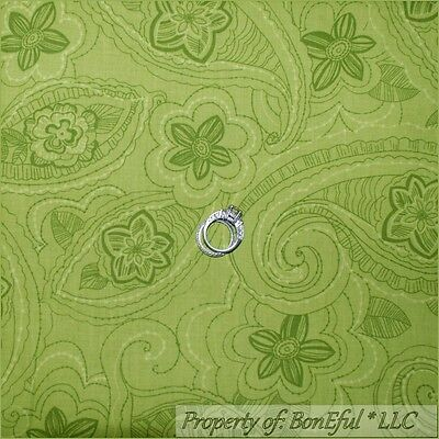 BonEful Fabric FQ Cotton VTG Quilt Flower Green Paisley Floral Flower Swirl Leaf
