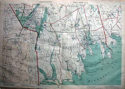 "1891 BRISTOL Co. NEW BEDFORD Fall River *19½ x 28"" Original NICE DETAIL!!"