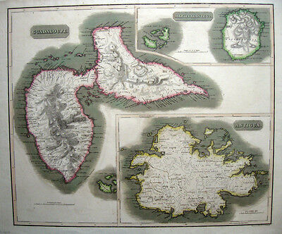 "1816 GUADALOUPE, ANTIGUA, MARIEGALANTE West Indies 20 x 23½"" THOMSON ORIGINAL VG"