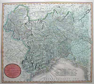 1799 PIEDMONT Italy GENOA Milan J.CARY  45.5x51cm ORIG Copperplate EARLY ROADS!