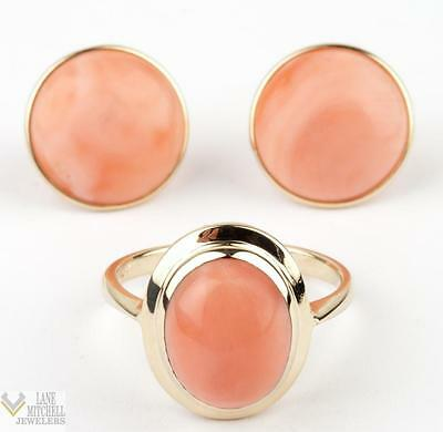 Ladies Vintage 1950's 14k Yellow Gold Coral Cabochon Ring & Stud Earring Set