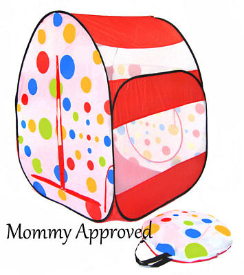 eWW Children Happy Red Polka Dot Portable Pop Up Kids Play Tent Playhouse