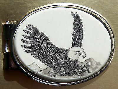 Money Clip Oval Barlow Scrimshaw Carved Painted Art Eagle Landing Silver 539141