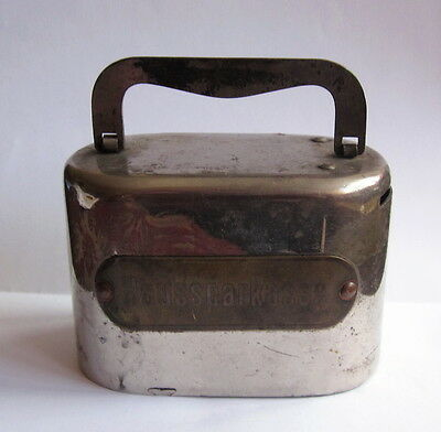 Antique German Haussparkasse Bank Massive Metal Money Box Safe