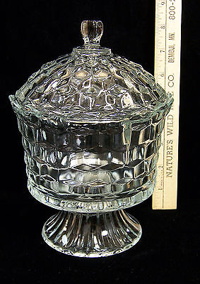 Homco Home Interiors Pressed Glass Covered Candy Dish w/ Lid Footed Pedestal